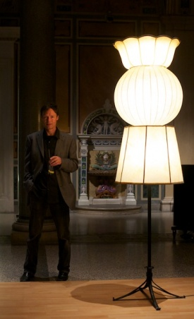 Artist Herman Fink with one of his lamps