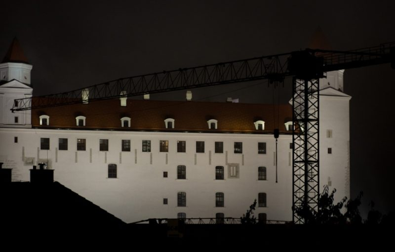 Bratislava Castle in the Fog, the Night before the Euro Fell