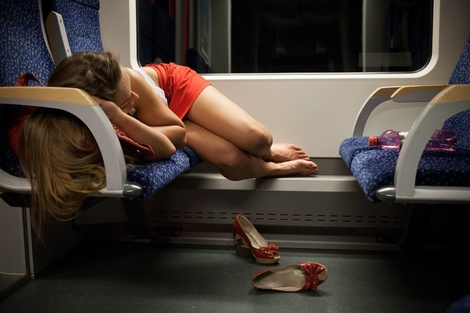 Girl Sleeping Night Train