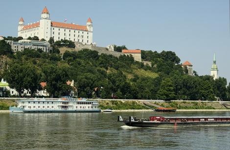 Bratislava Castle Danube boats postcard 1