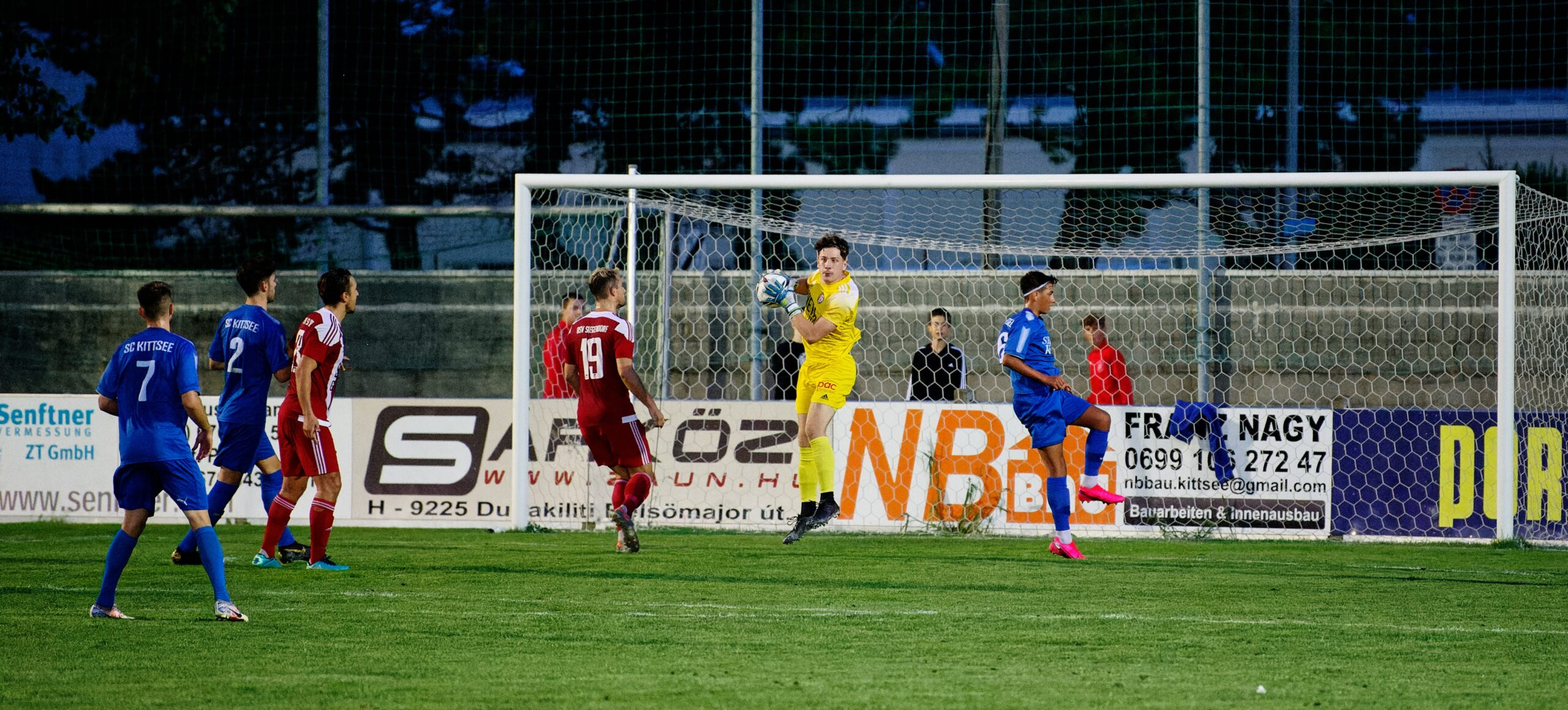 Siegendorf keeper Robert Gregull nimbly catches ball
