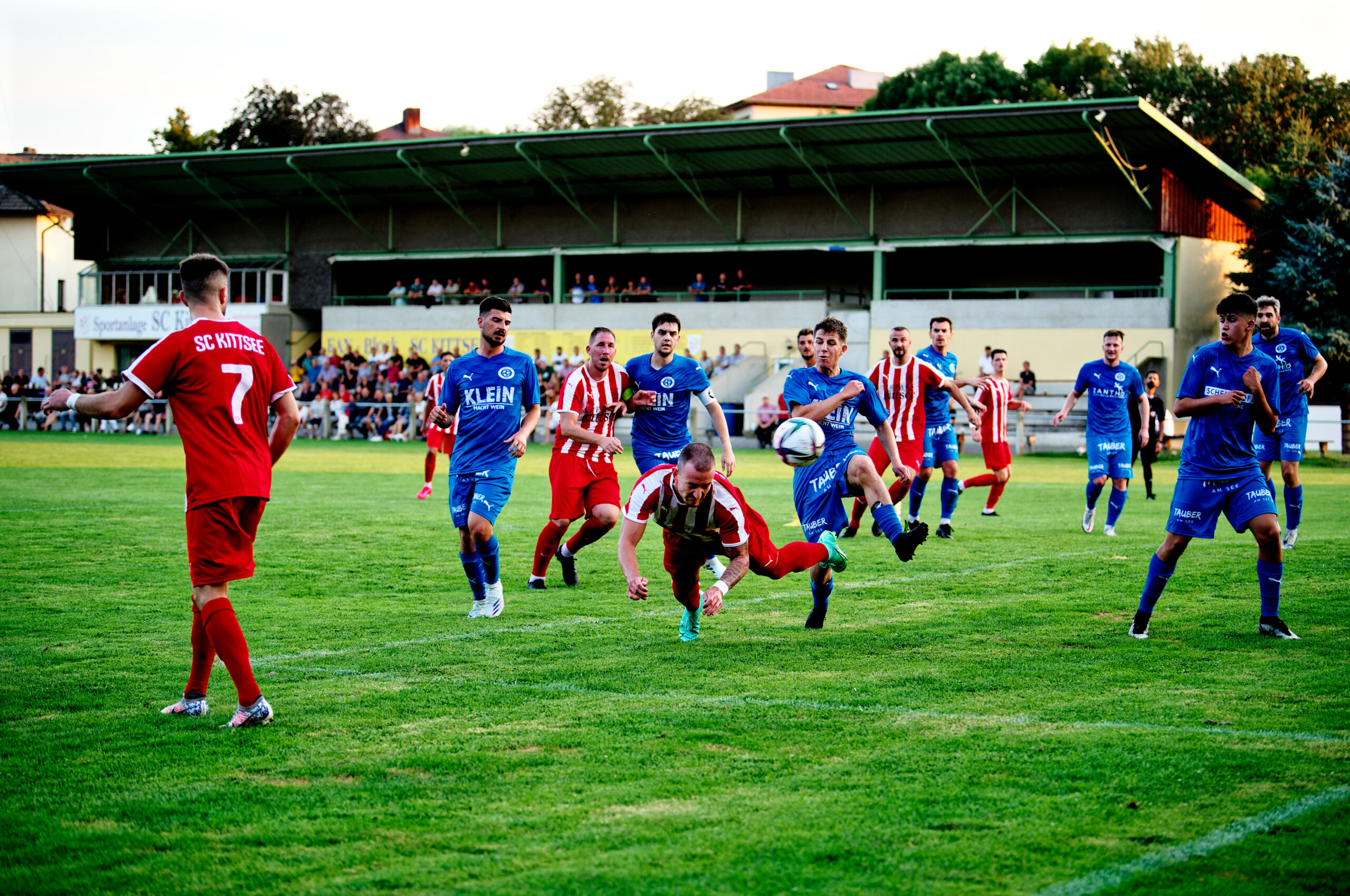 Pavol Bellas heads the ball into the Andau net