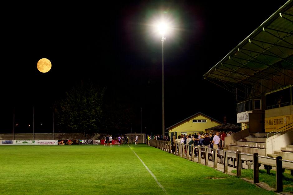 Harvest moon over SC Kittsee Stadium