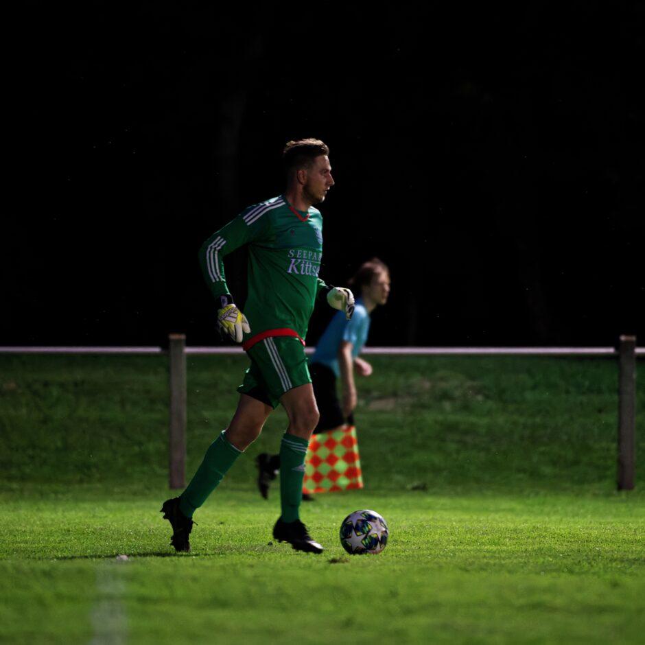 Manuel Schiszler brings the ball forward as an extra attacker