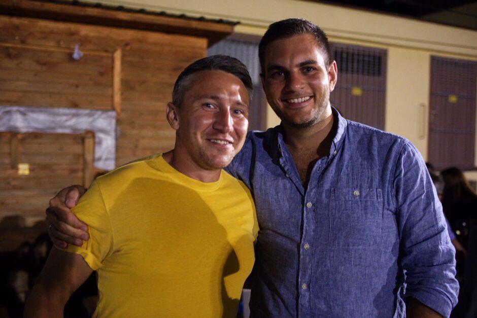Christian Mauro and friend enjoying summer evening