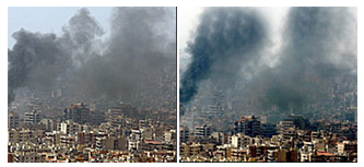 Famous doctored photo of Beirut skyline before and after