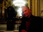 alec with bust of strauss, the staatsoper's first director
